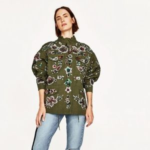 Zara sequins green military jacket
